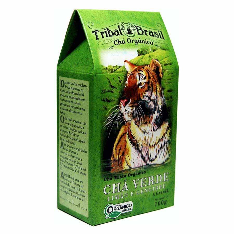Chá Orgânico Verde Limão Gengibre - Tribal - Caixa a Granel 100g.