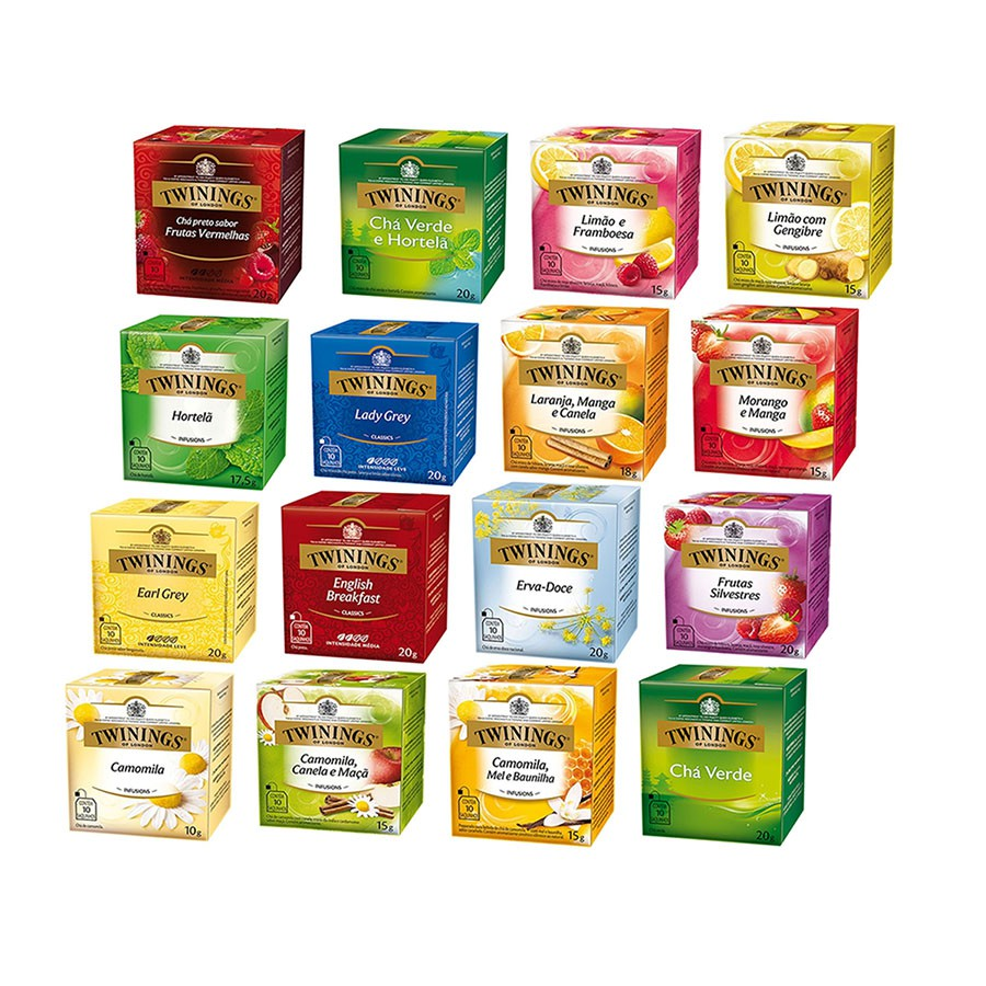Chá Twinings of London Conjunto 16 caixas - 160 Sachês