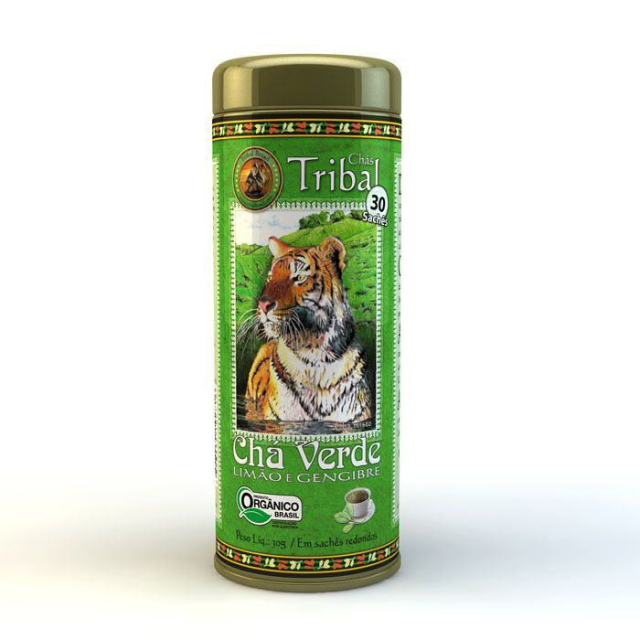 Chá Verde Limão e Gengibre Orgânico - Tribal - Lata 30 sachês.