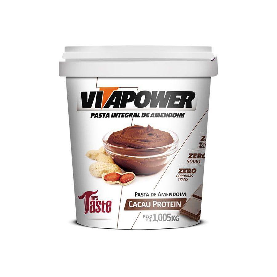 Pasta de Amendoim com Cacau Protein - VITAPOWER - 2 Potes 1,005kg  - 50% de desconto no segundo pote.