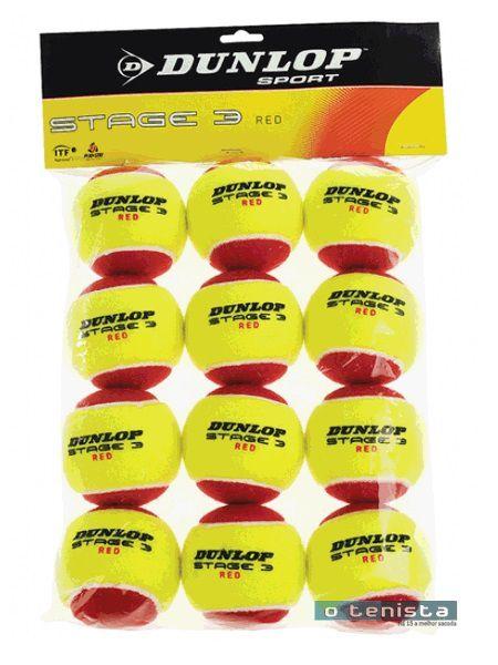 Bola Dunlop Estagio 3 - Mini Red X12