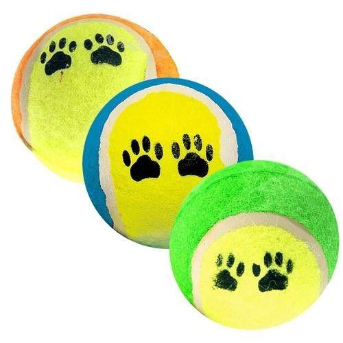 Bola Tênis Camurça Brinquedo Kit 3 Unidades Para Cães