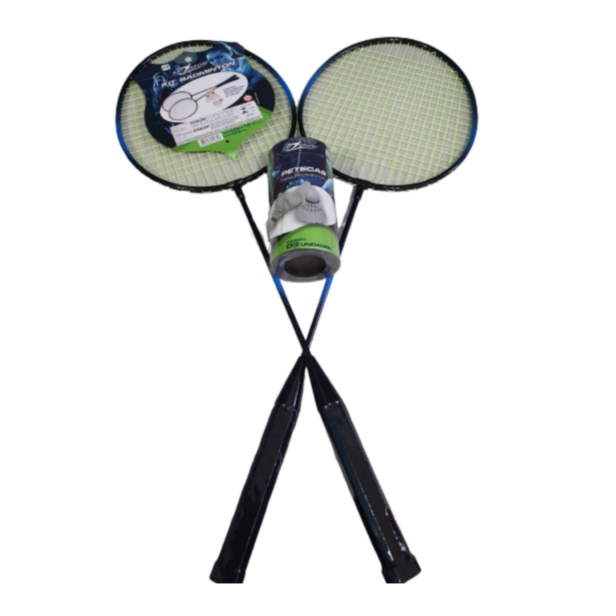 Kit 2 Raquetes Badminton+Petecas+Bolsa