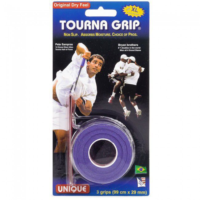 OVERGRIP UNIQUE TOURNA ORIGINAL SAMPRAS AZUL COM 03 UNIDADES