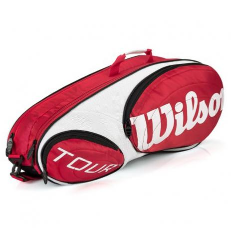 Raqueteira Wilson Tour X6 - Vermelha/Branco/Preto