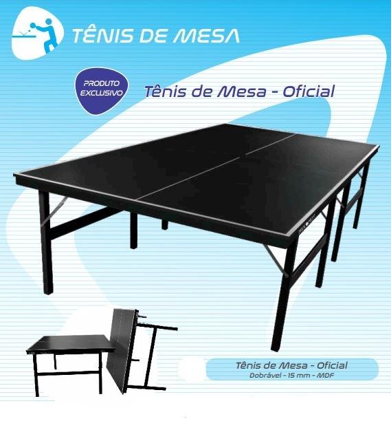 Tênis De Mesa Oficial Ping Pong MDF 15mm Luxo Procópio - Preto