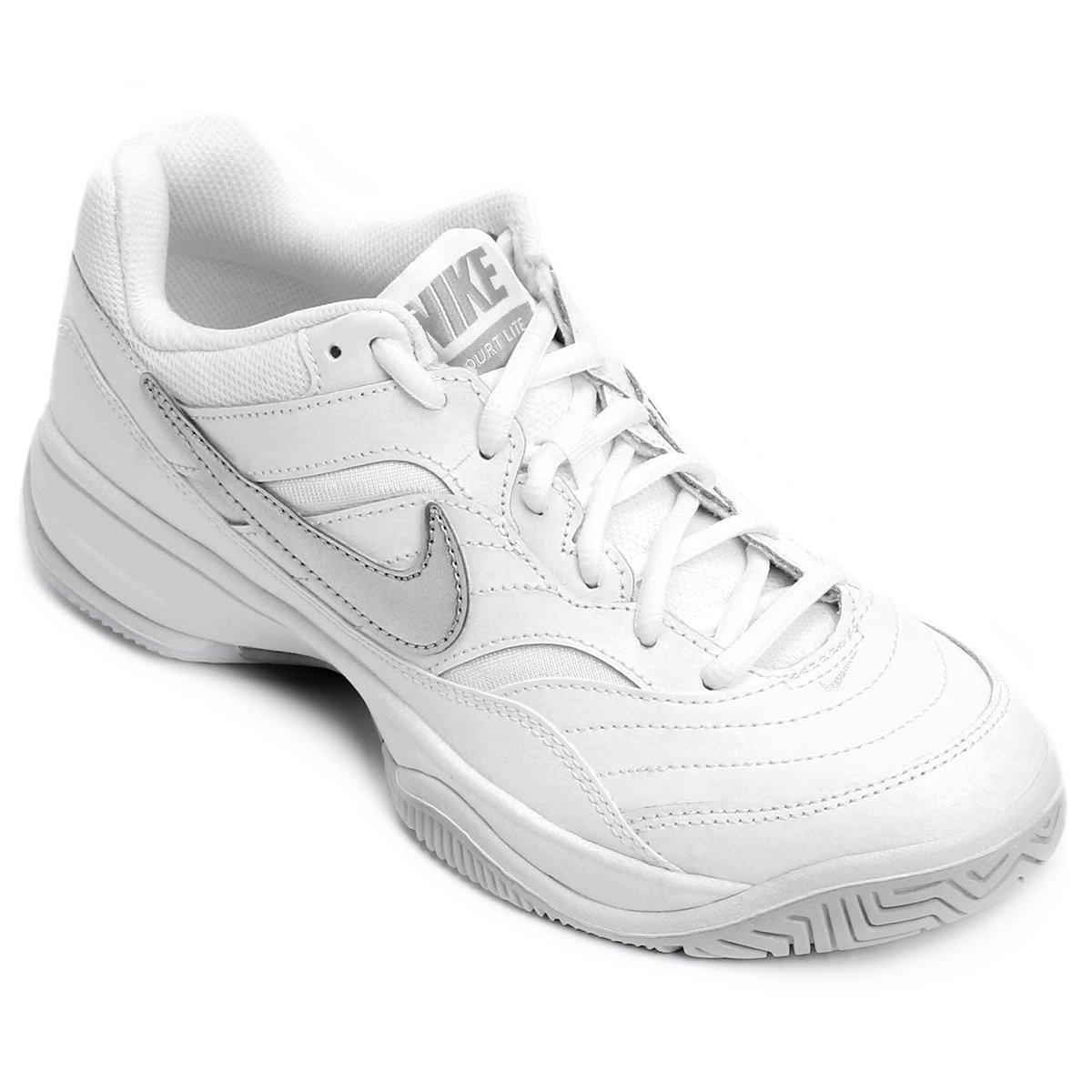 Tênis Nike Court Lite Branco com Prata Feminino