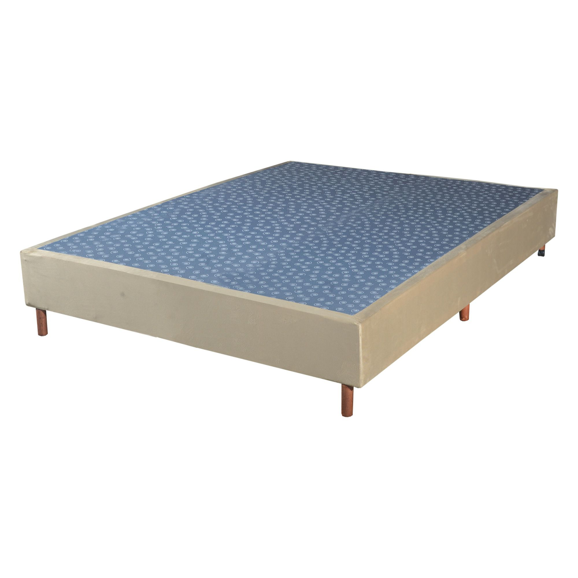 Cama Box Base Casal Veludo Bege 138x188x25