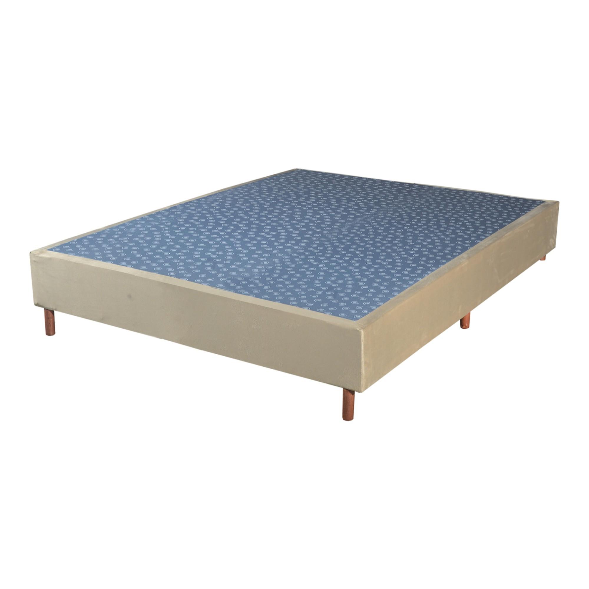 Cama Box Base Casal Veludo Bege 138x188x30