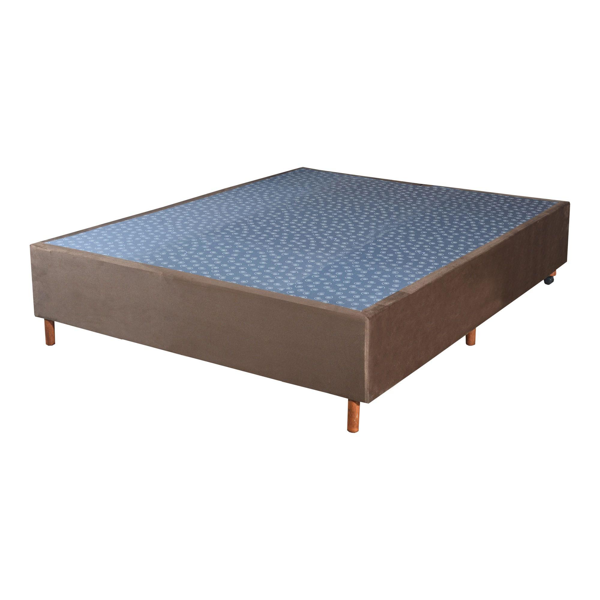 Cama Box Base Casal Veludo Marron 138x188x30