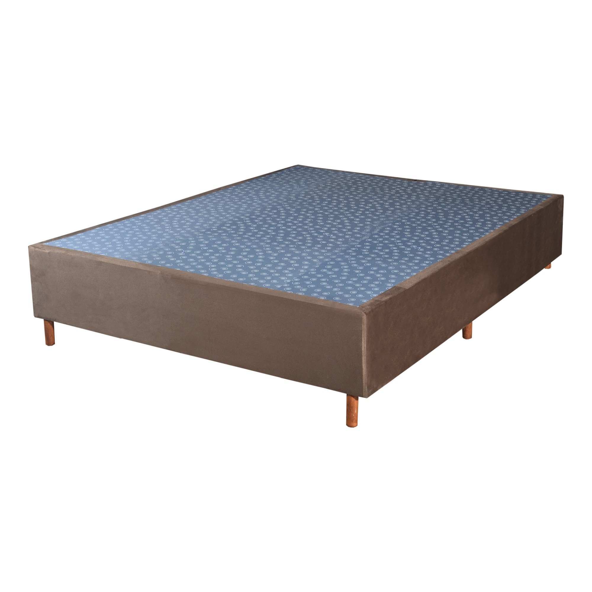 Cama Box Base Casal Veludo Marron 138x188x30