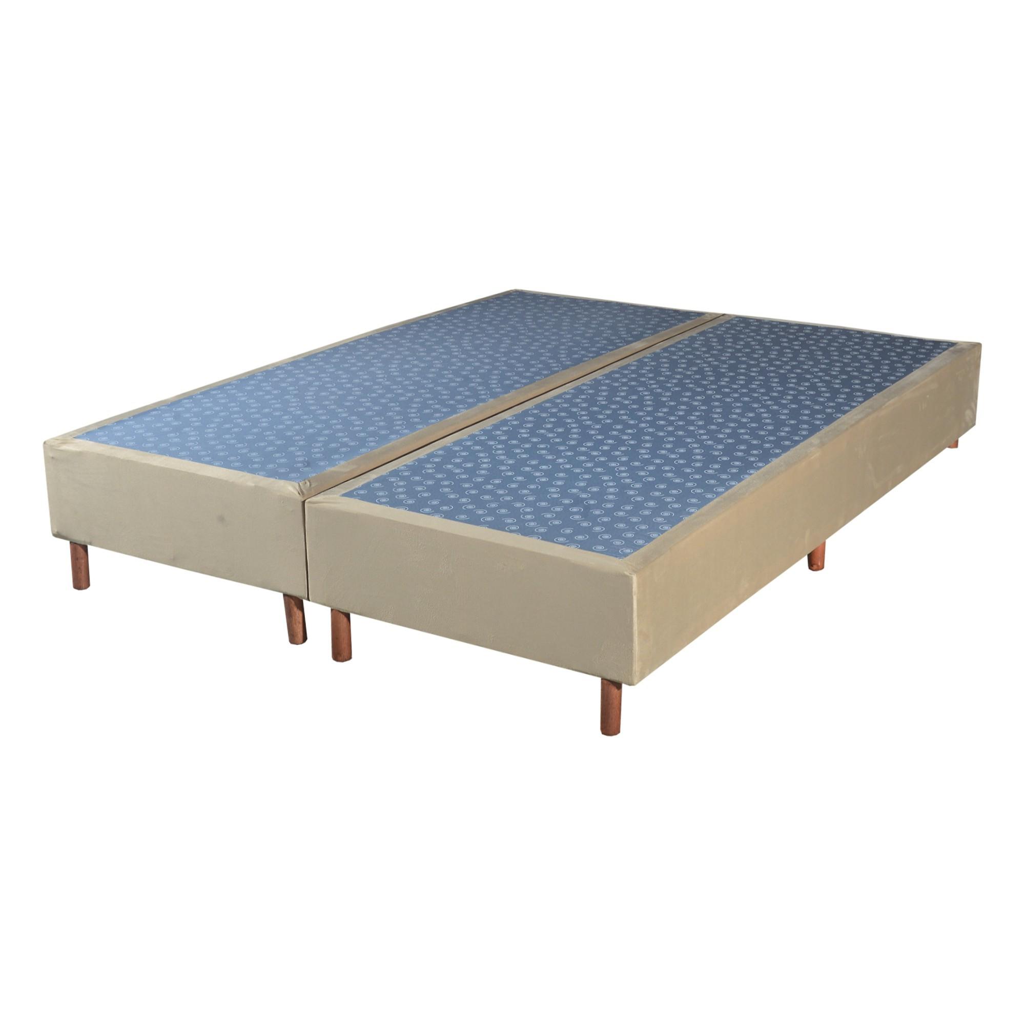 Cama Box Base King Veludo Bege 193x203x30