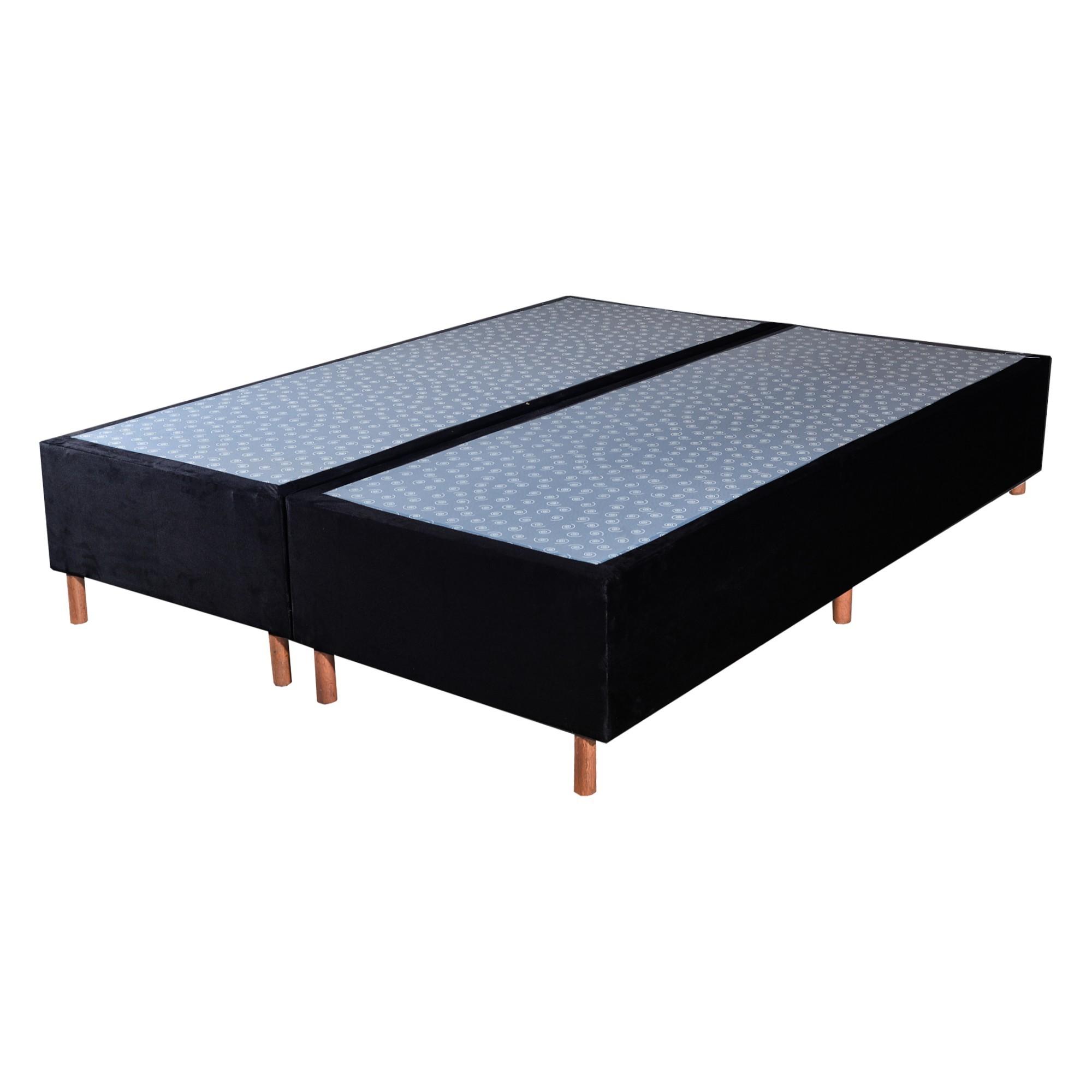 Cama Box Base King Veludo Preto 193x203x25