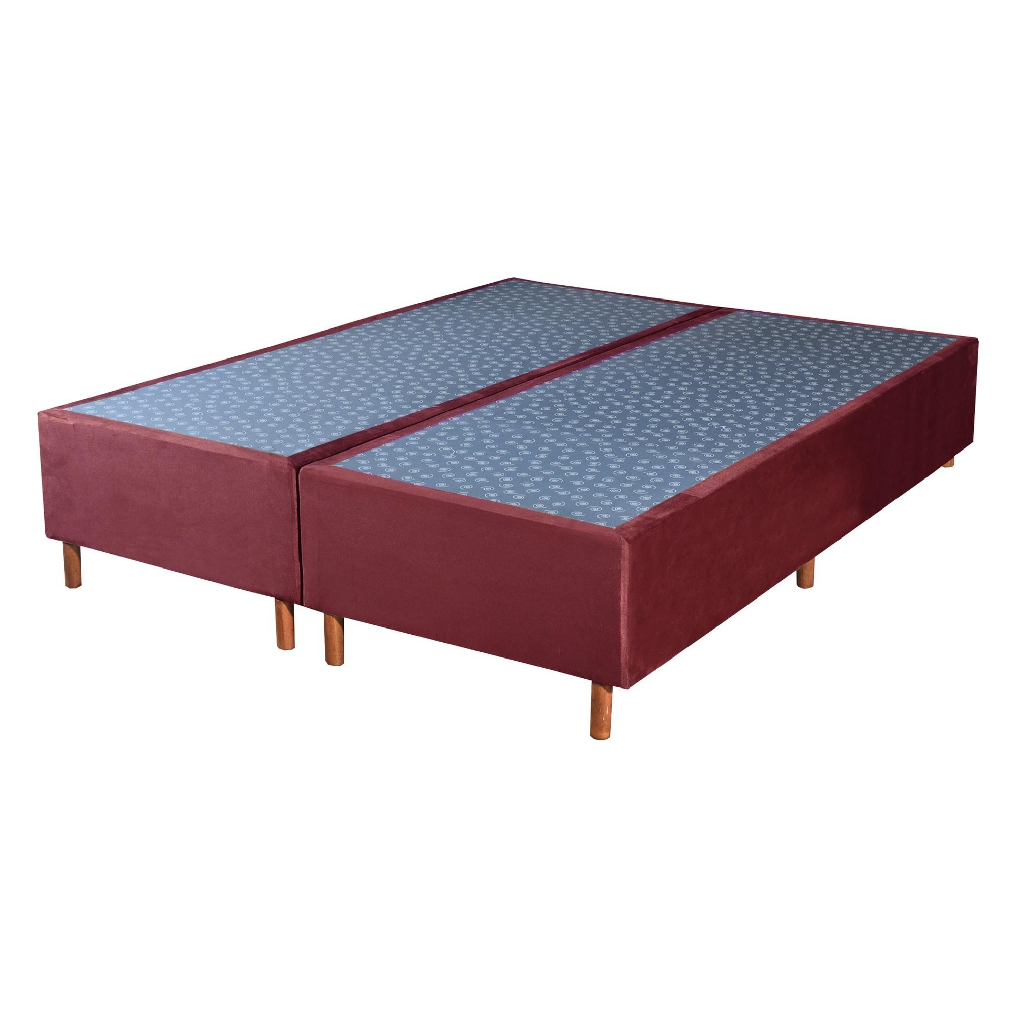 Cama Box Base King Veludo Vinho 193x203x25