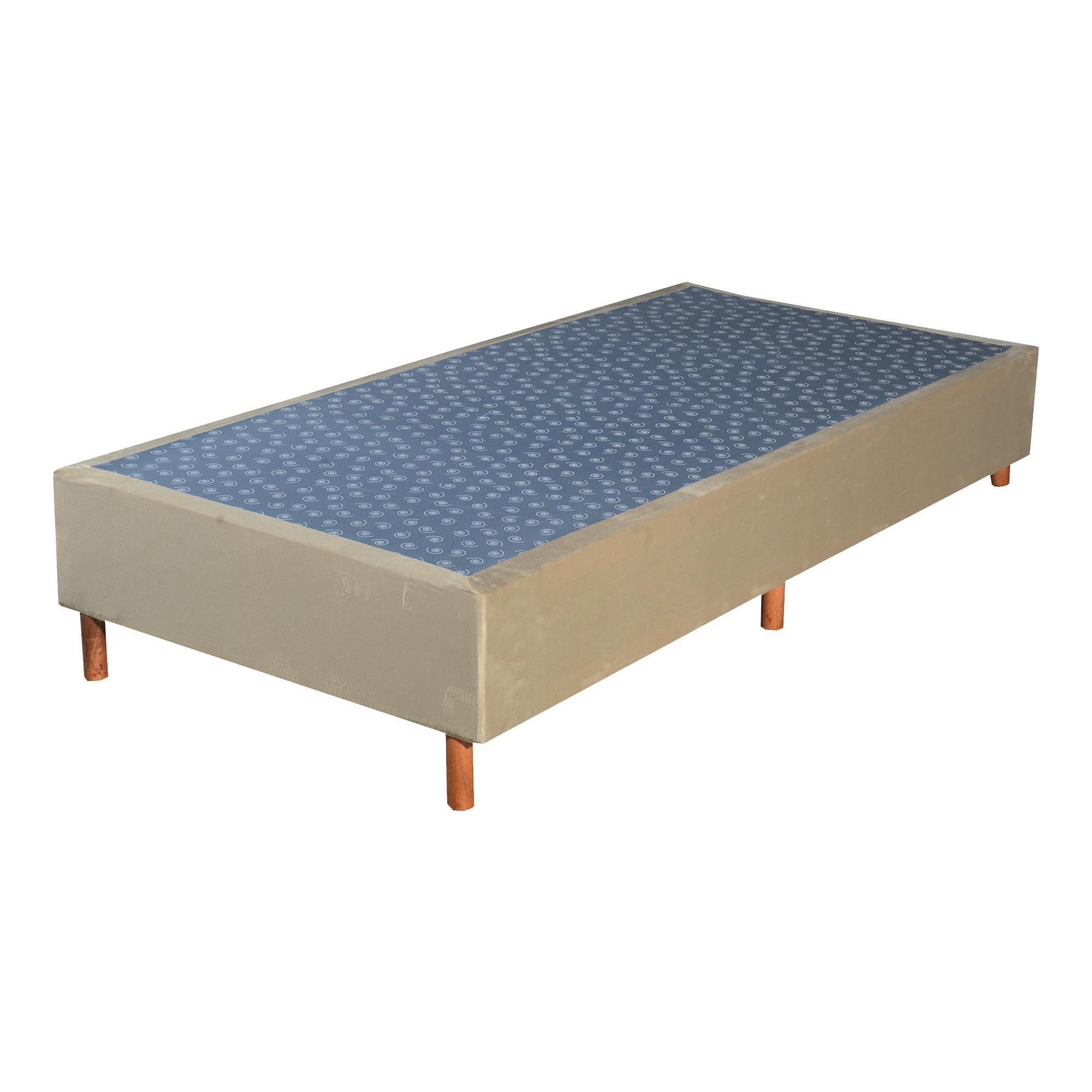 Cama Box Base Solteiro Veludo Bege 088x188x30