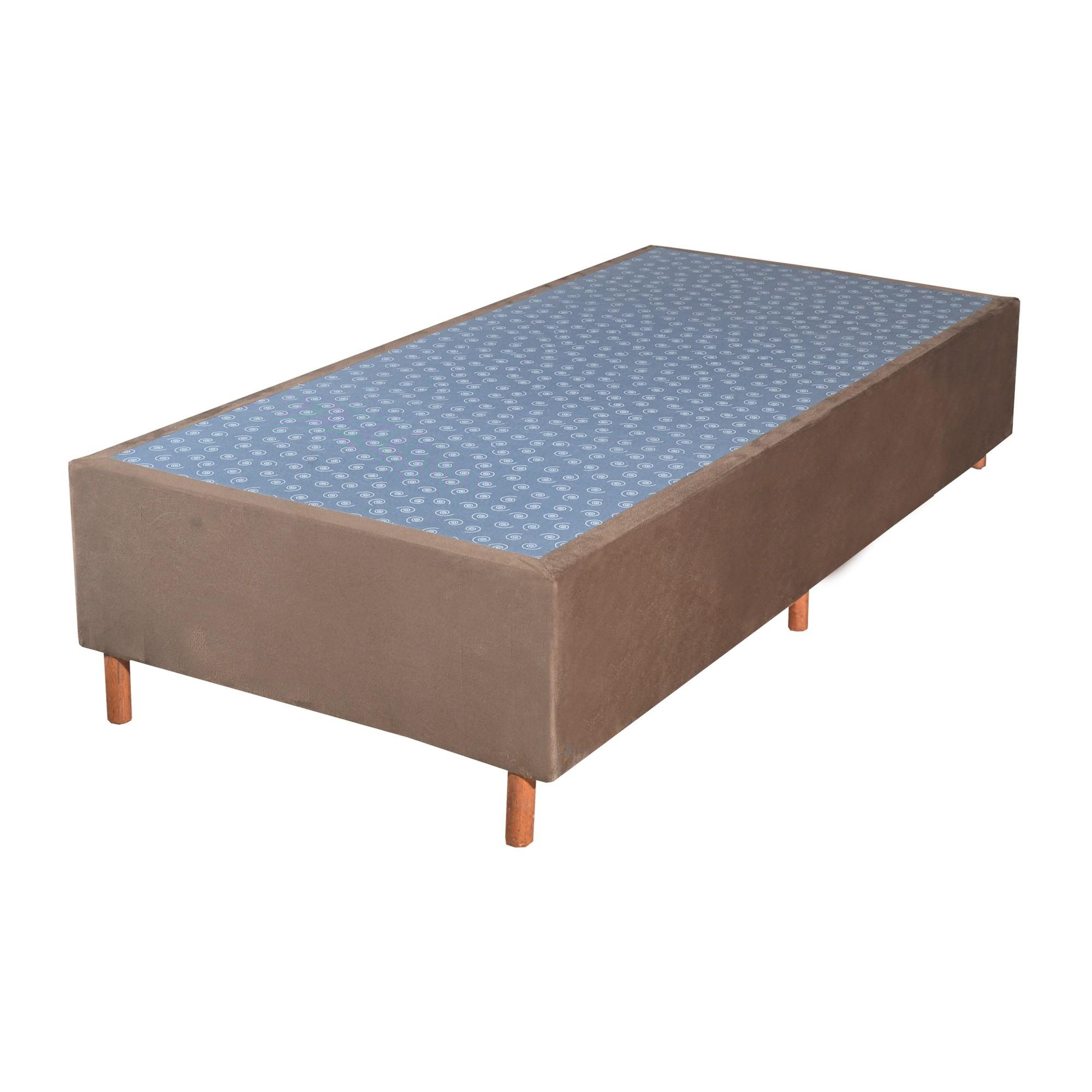 Cama Box Base Solteiro Veludo Marron 088x188x25