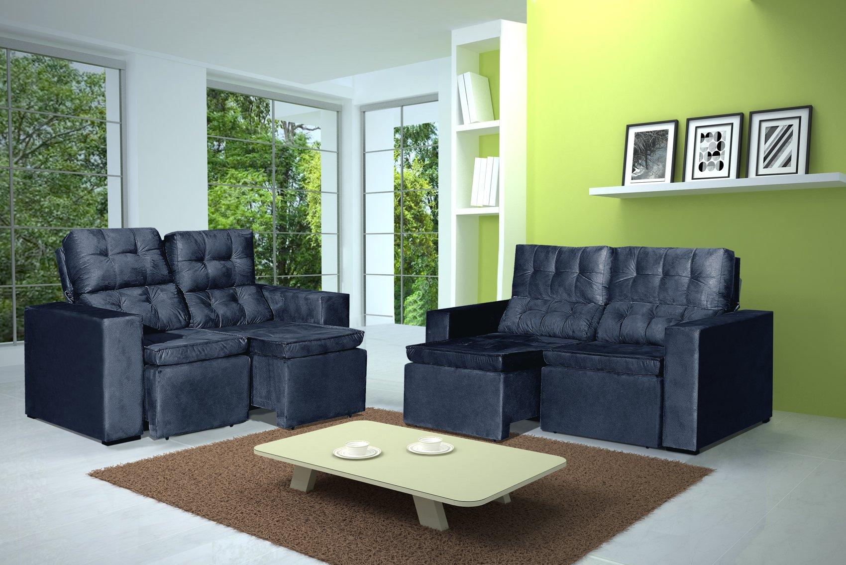 Conjunto de Sofá 2 e 3 Lugares Retrátil e Reclinável Astra Azul + Mesa de Centro Verona Off-White