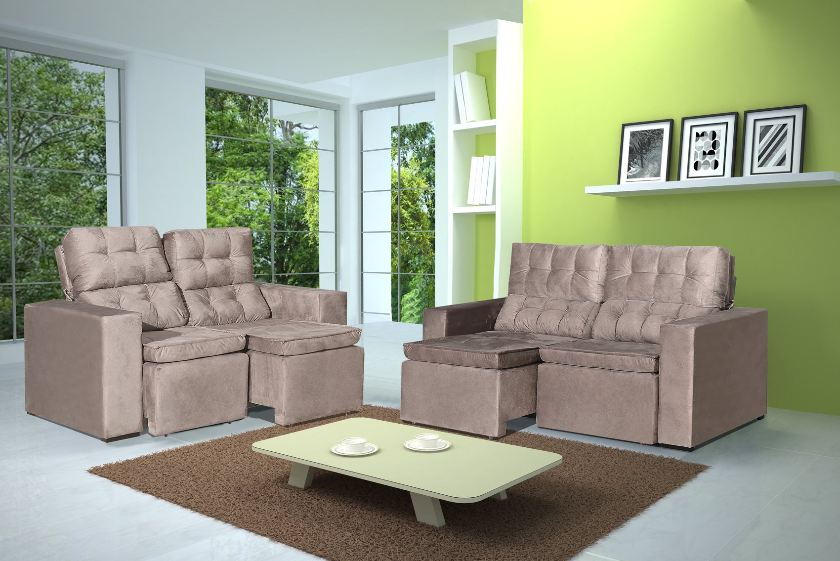 Conjunto de Sofá 2 e 3 Lugares Retrátil e Reclinável Astra Bege + Mesa de Centro Verona Off-White