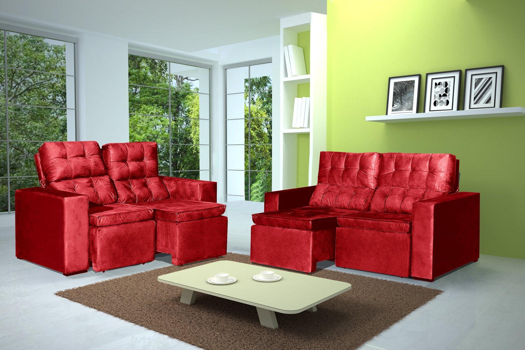 Conjunto de Sofá 2 e 3 Lugares Retrátil e Reclinável Astra Vermelho + Mesa de Centro Verona Off-White
