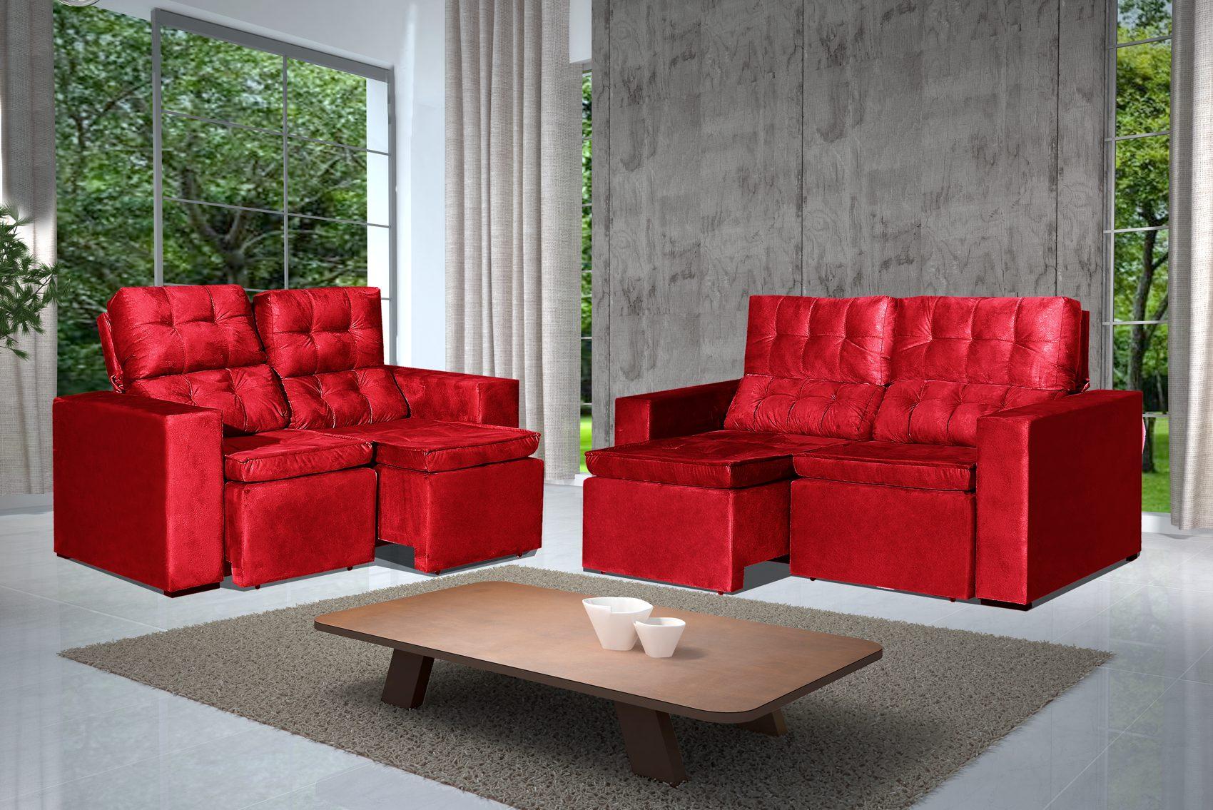 Conjunto de Sofá 2 e 3 Lugares Retrátil e Reclinável Astra Vermelho + Mesa de Centro Verona Steel
