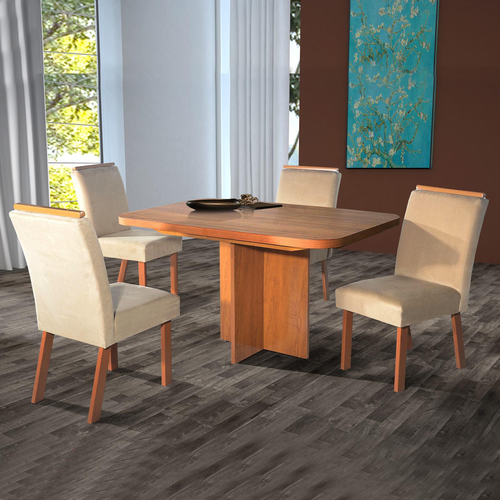 Conjunto Sala de Jantar Atenas Tampo MDF 130x90 4 Cadeiras Bom Pastor Noce/Freijó