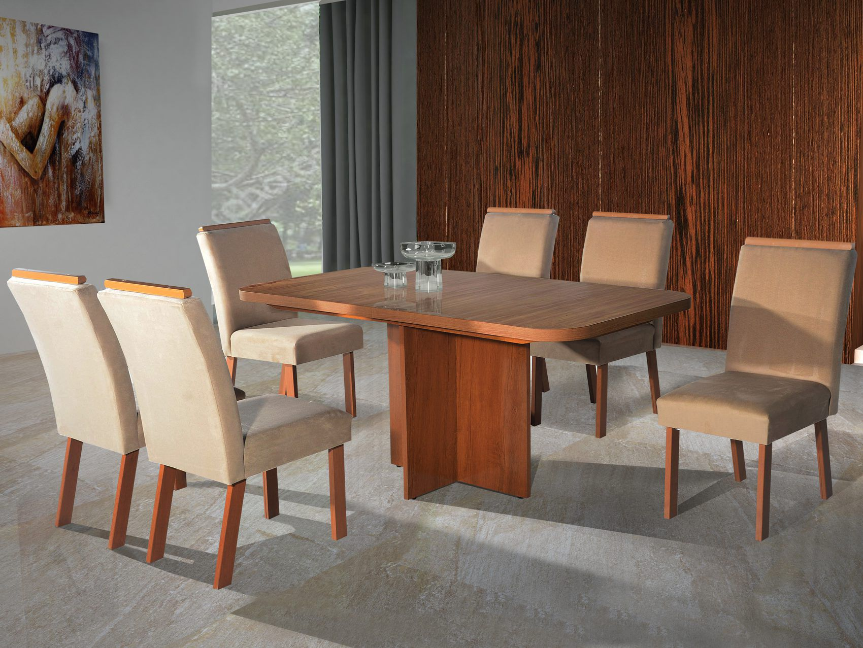 Conjunto Sala de jantar Atenas Tampo MDF 180x90 6 cadeiras Bom Pastor Noce/Freijó