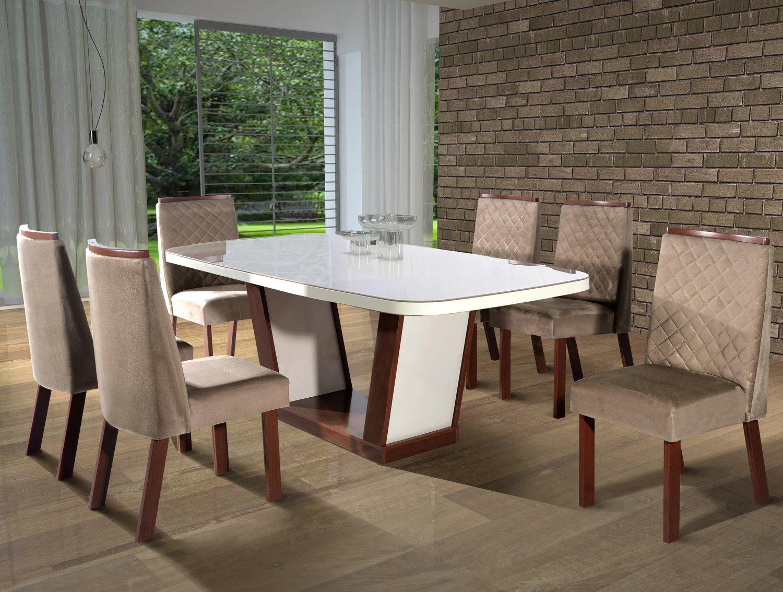 Conjunto Sala de jantar Berlim Tampo MDF/Vidro 180x90 6 Cadeiras Bom Pastor Amêndoa/Off-White