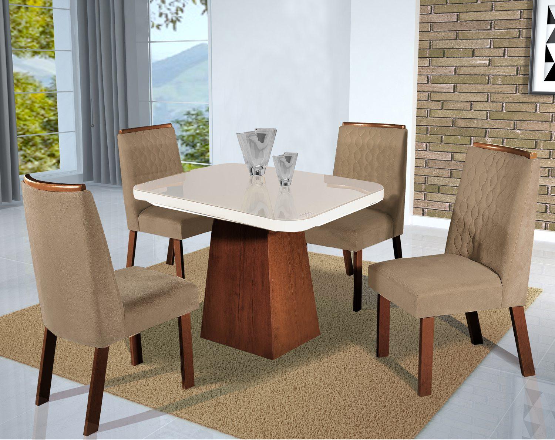 Conjunto Sala de Jantar London Tampo MDF/Vidro 100x100 4 Cadeiras Bom Pastor Amêndoa/Off-White