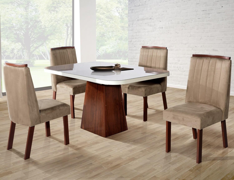 Conjunto Sala de Jantar London Tampo MDF/Vidro 130x90cm 4 Cadeiras Bom Pastor Amêndoa/Off-White