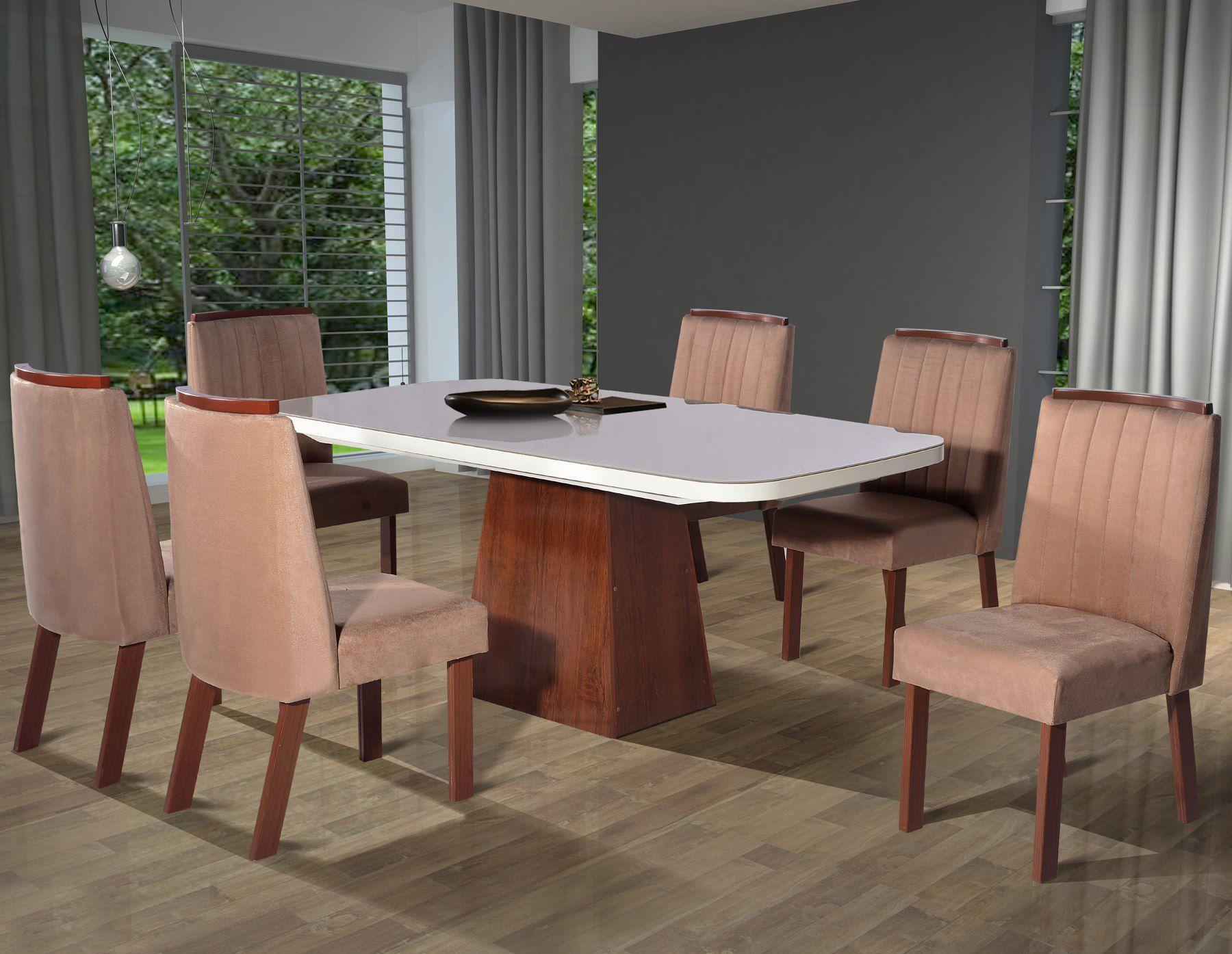 Conjunto Sala de Jantar London Tampo MDF/Vidro 180x90 6 Cadeiras Bom Pastor Amendoa/Off-White