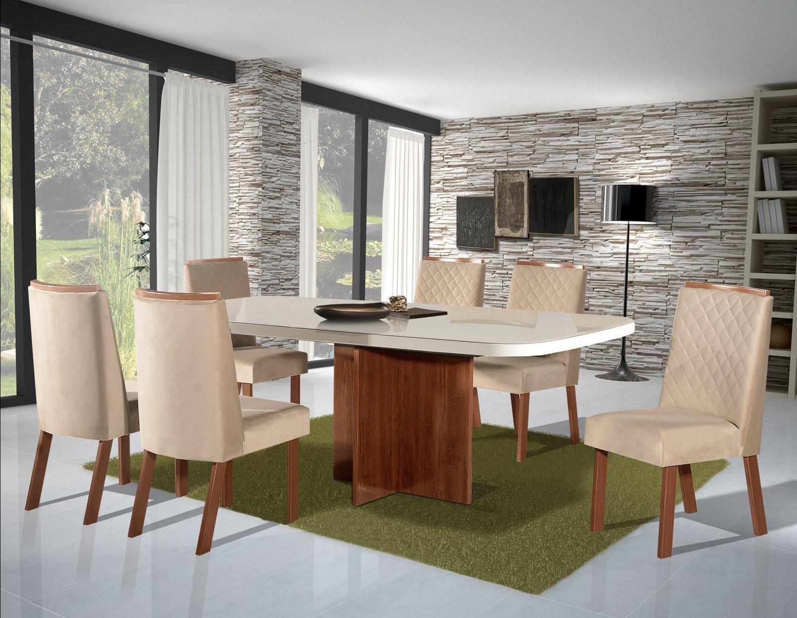 Conjunto Sala de Jantar Mônaco 160x80 6 Cadeiras Bom Pastor