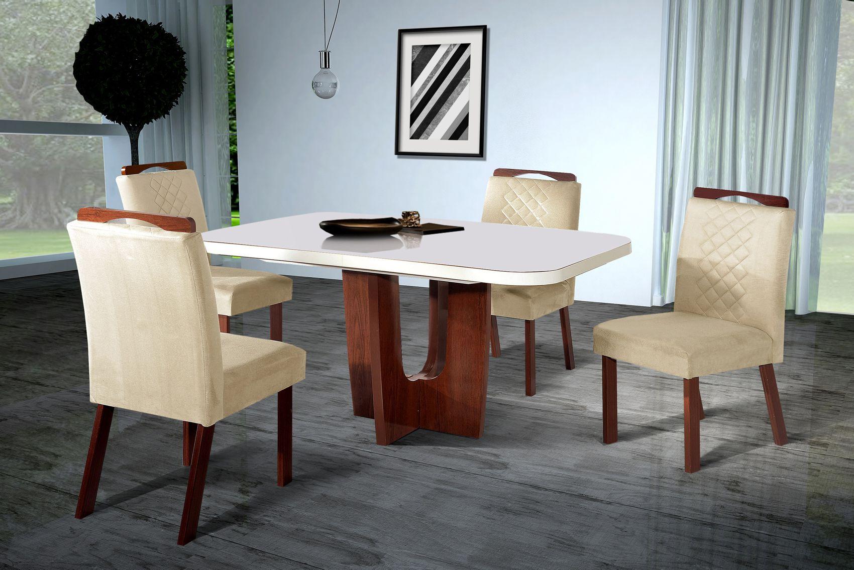 Conjunto Sala de Jantar Roma Tampo MDF/Vidro 130x90cm 4 Cadeiras Bom Pastor Amêndoa/Off-White