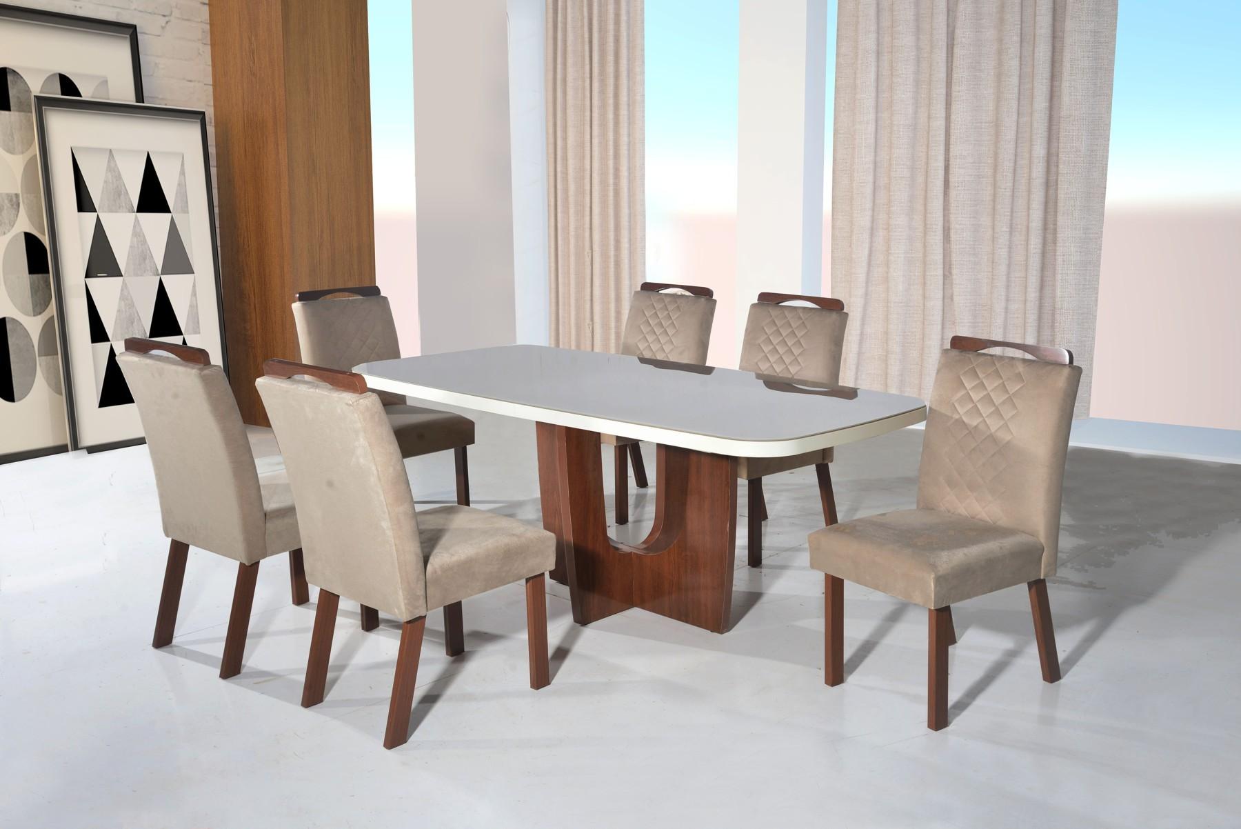 Conjunto Sala de jantar Roma Tampo MDF/Vidro 180x90 6 Cadeiras Bom Pastor Amêndoa/Off-White