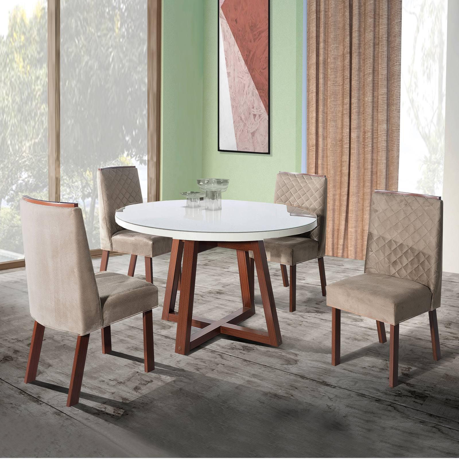 Conjunto Sala de Jantar Safira Tampo MDF/Vidro 110x110 Com 4 Cadeiras Bom Pastor Amêndoa/Off-White