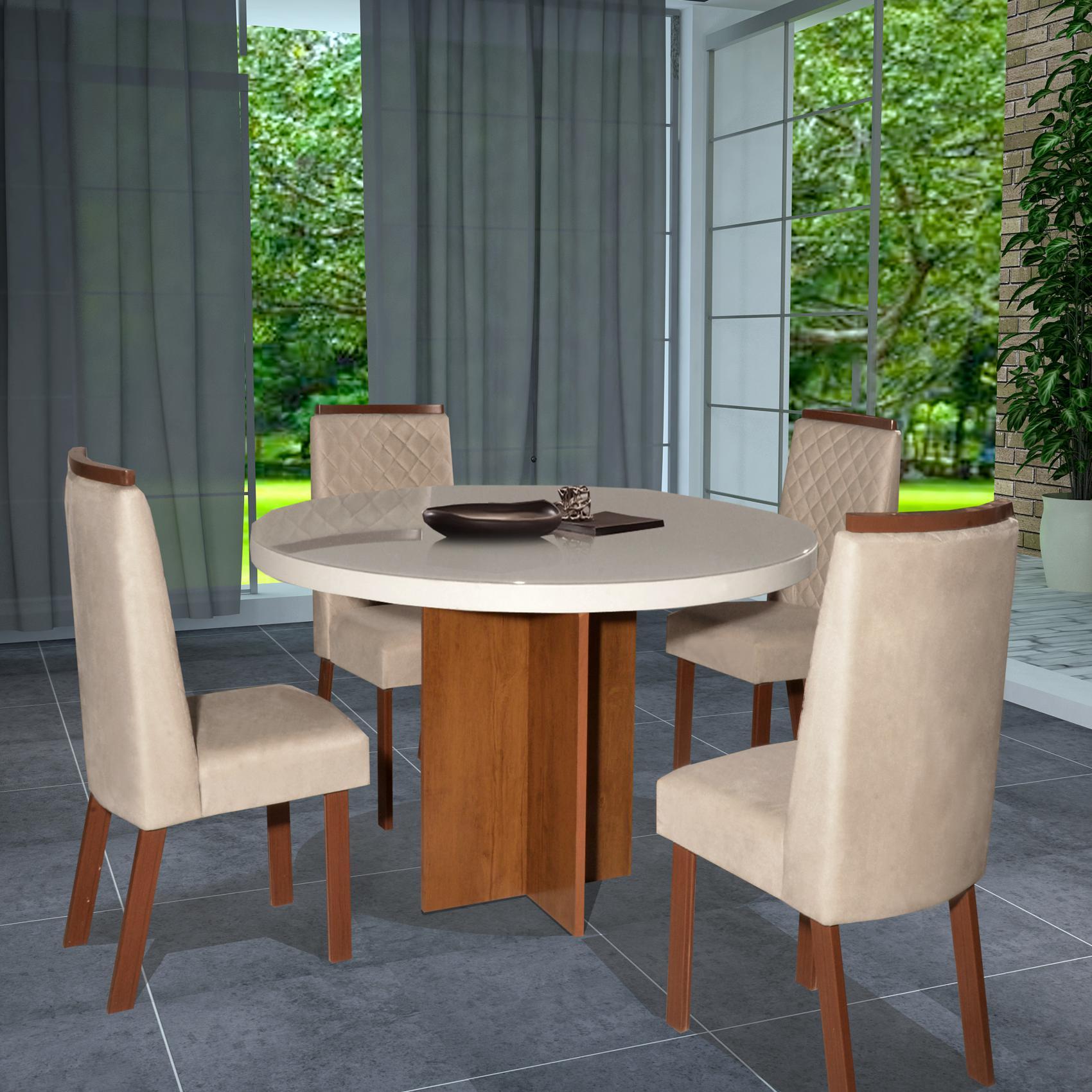 Conjunto Sala de Jantar Siena Tampo MDF/Vidro 110x110 Com 4 Cadeiras Bom Pastor