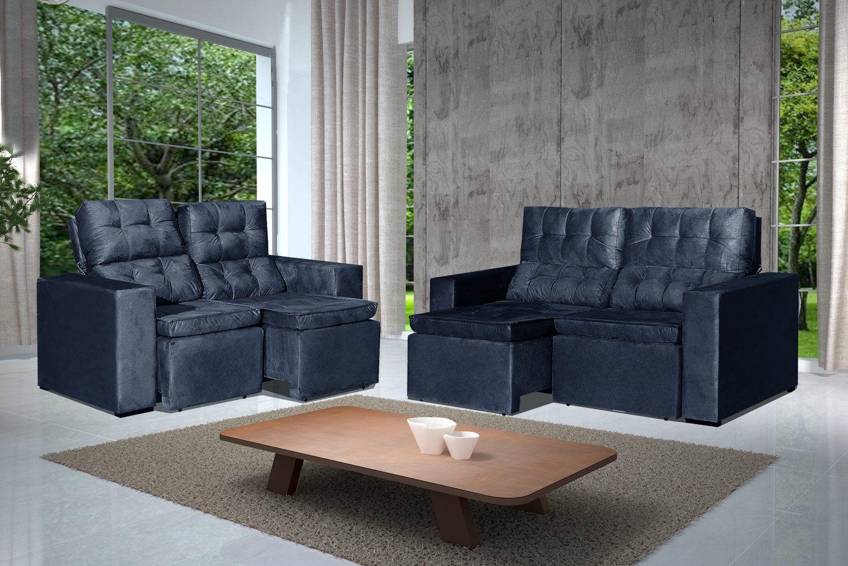 Conjunto de Sofá 2 e 3 Lugares Retrátil e Reclinável Astra Azul + Mesa de Centro Verona Steel
