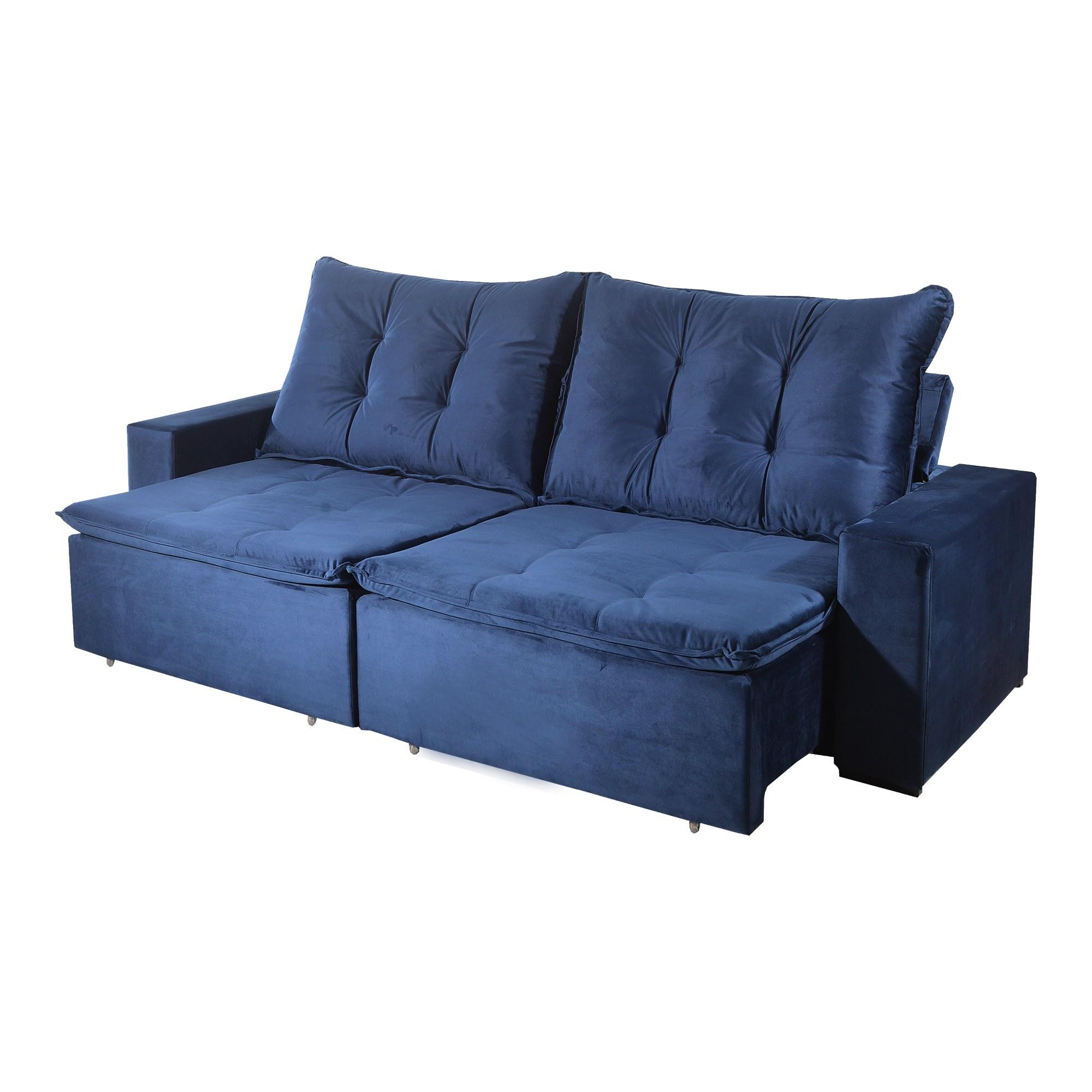 Sofá Retrátil e Reclinável Bom Pastor Stella 4 Lugares 2,50m Veludo Luxo Azul