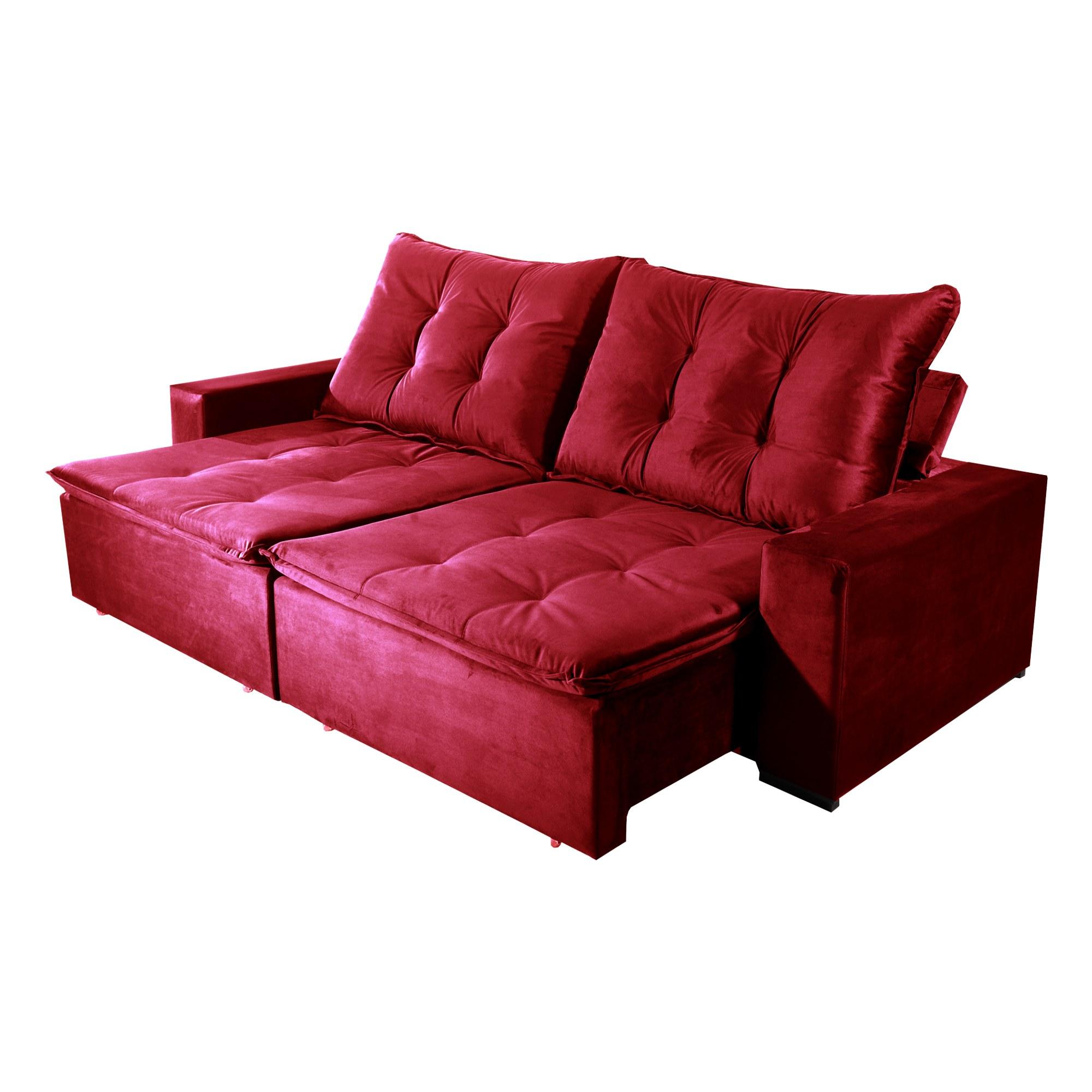 Sofá Retrátil e Reclinável Bom Pastor Stella 4 Lugares 2,50m Veludo Luxo Vermelho