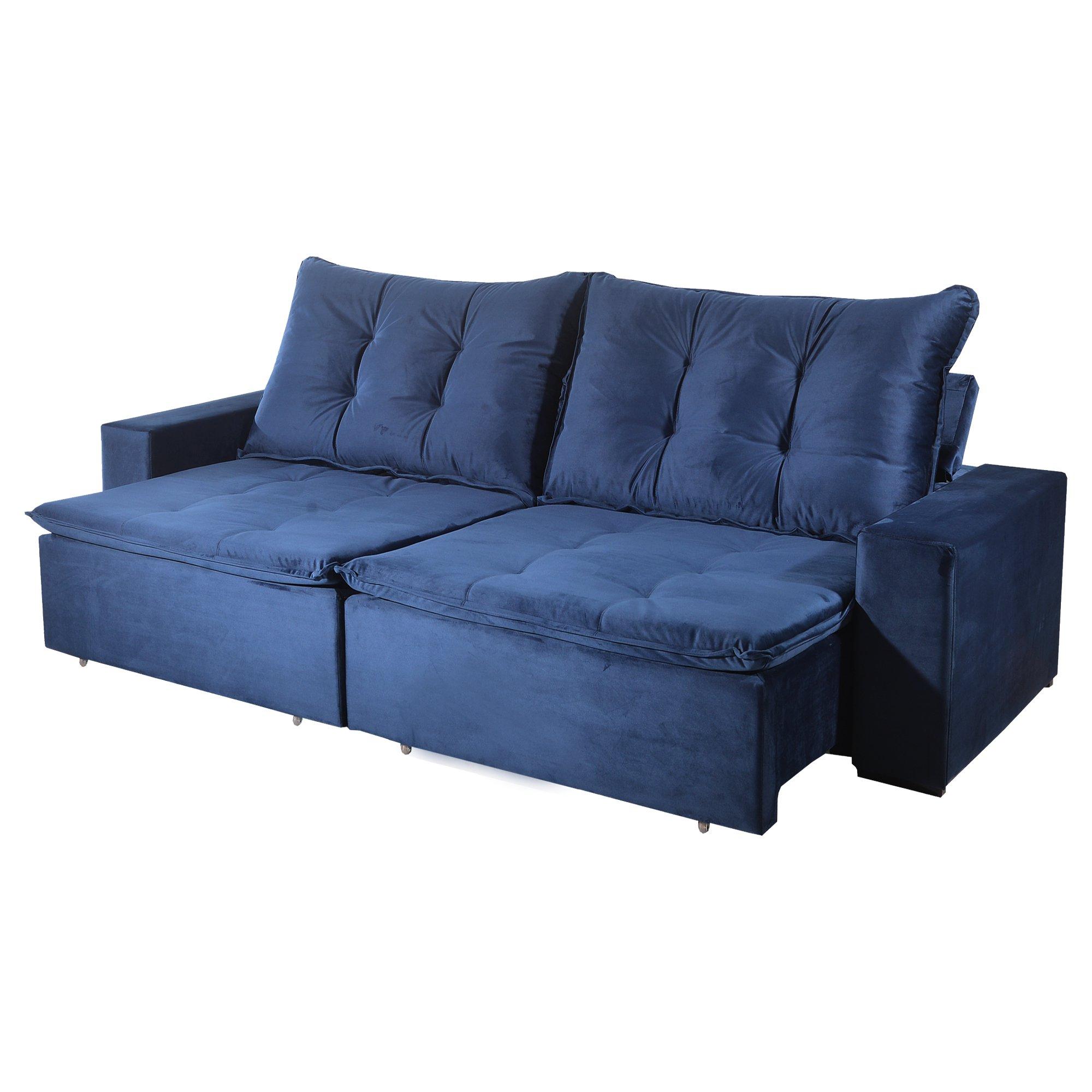 Sofá Retrátil e Reclinável Bom Pastor Stella 5 Lugares 2,90m Veludo Luxo Azul