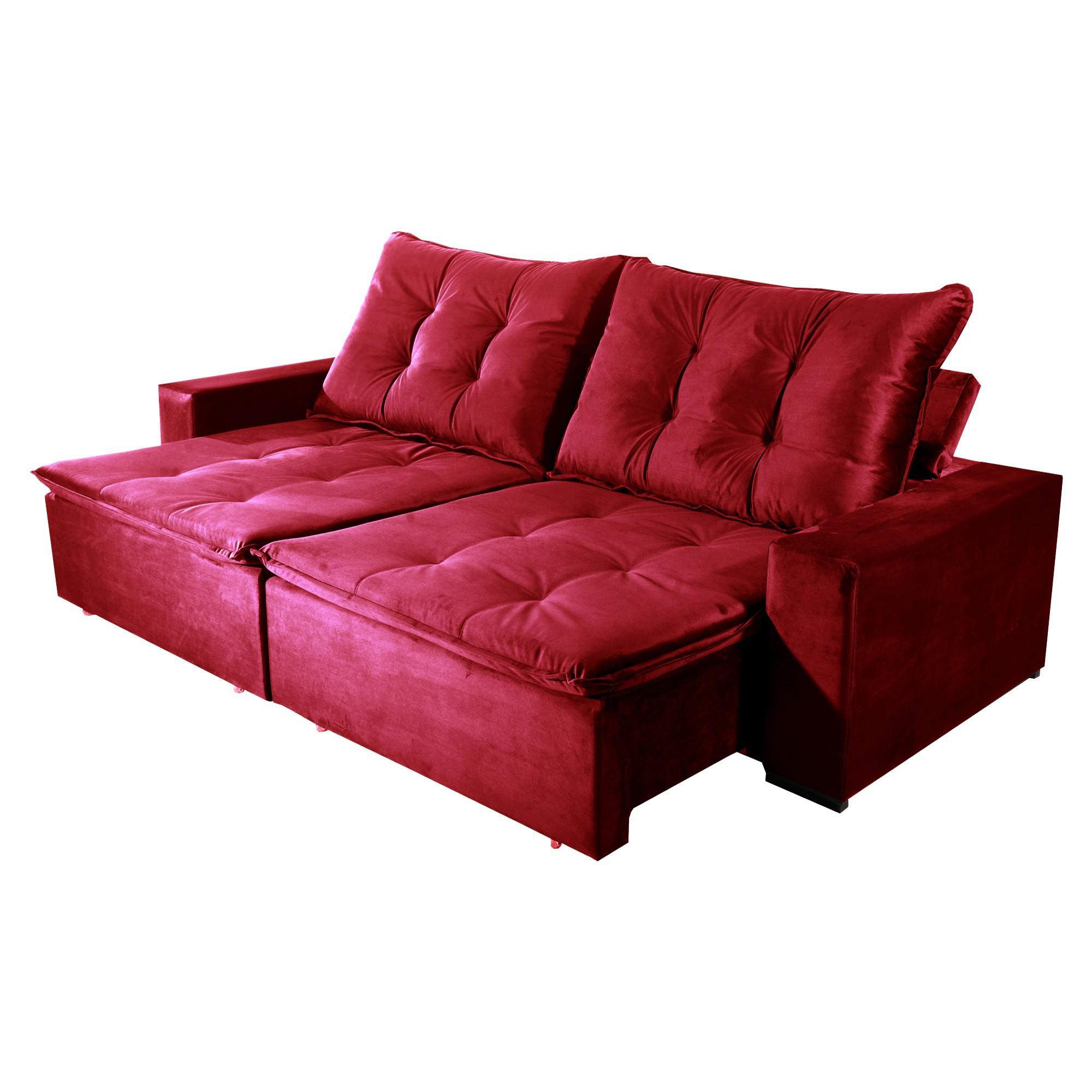 Sofá Retrátil e Reclinável Bom Pastor Stella 5 Lugares 2,90m Veludo Luxo Vermelho