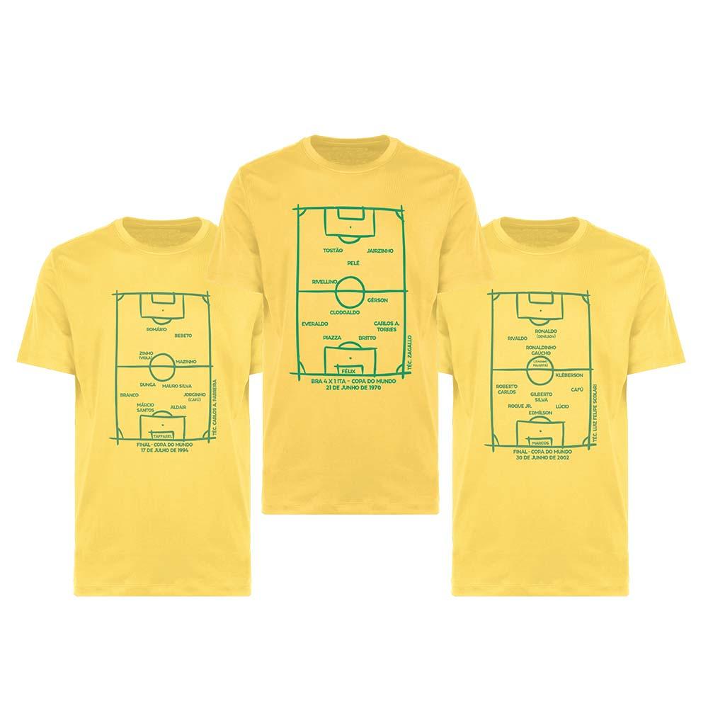 Kit Camisetas Escalações Históricas da Seleção Brasileira