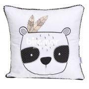 Almofada urso panda Rique - branco/preto