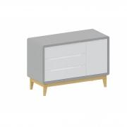 Cômoda Bo 3 gavetas com porta lateral Branca com cinza