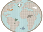 Tapete mapa mundi verde Safári
