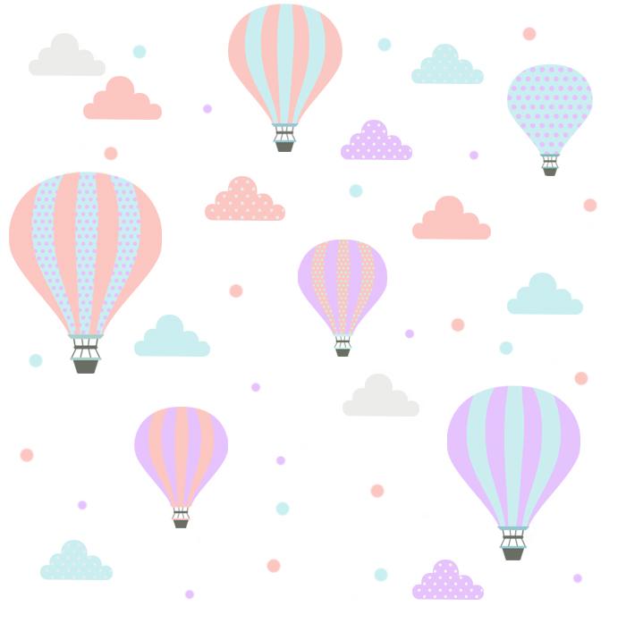 Adesivo de Parede Infantil Balões Fofos