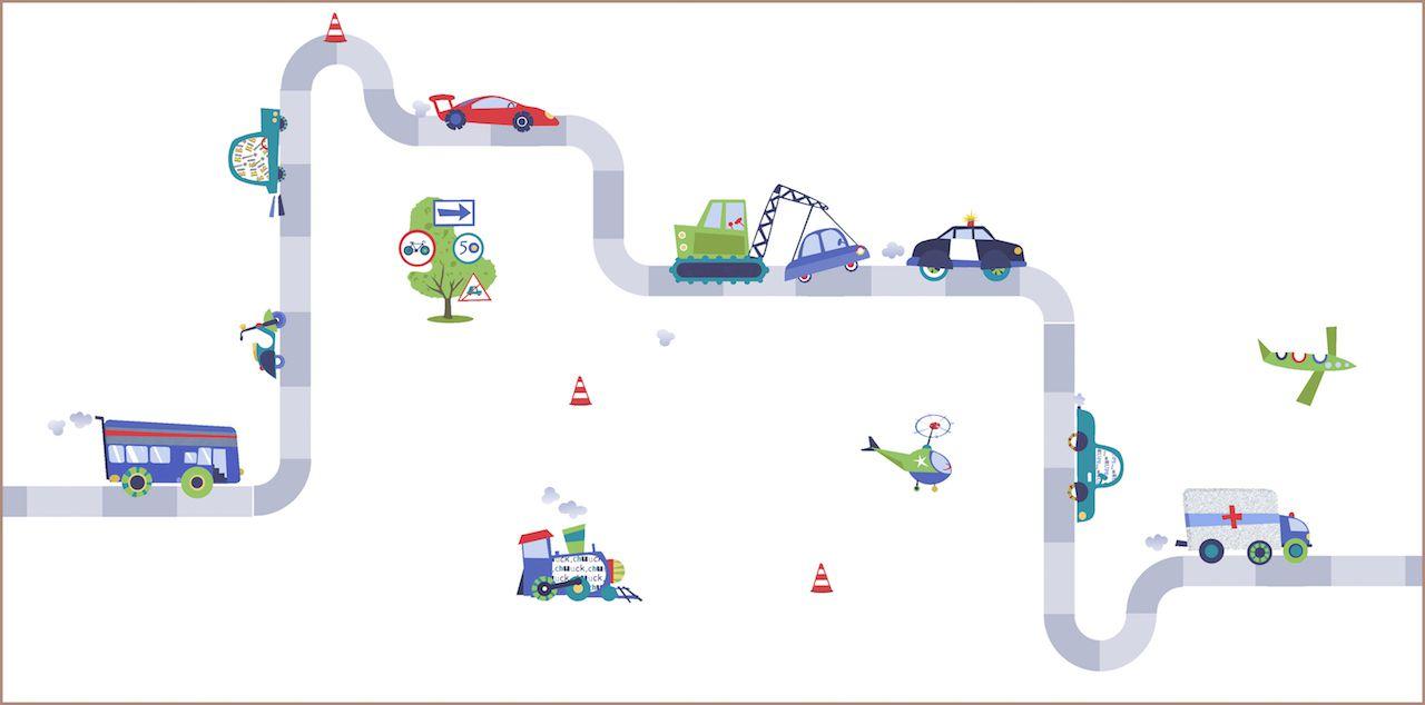 Adesivo de parede infantil Car track