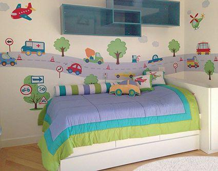 Adesivo de parede infantil Little Cars