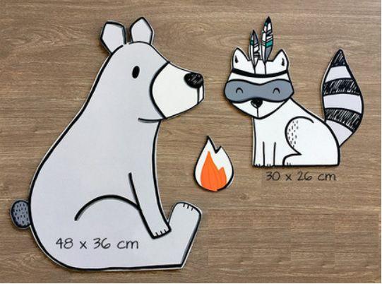 Adesivo decorativo com bichinho de MDF - Apache urso guaxinim