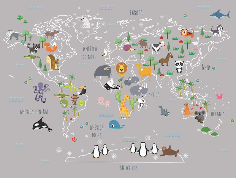 Adesivo Mapa Mundi Bichos
