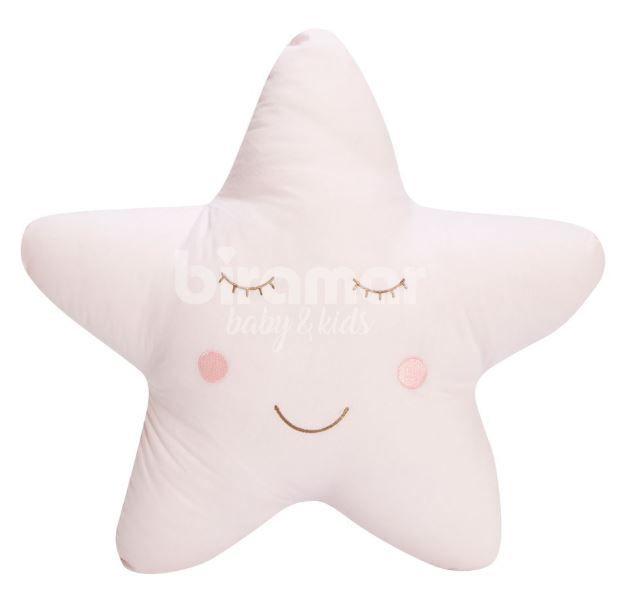 Almofada estrela bordada - rosa